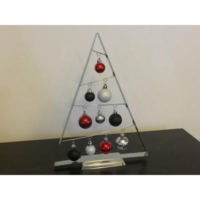 Sapin en métal triangulaire et boules 15po.