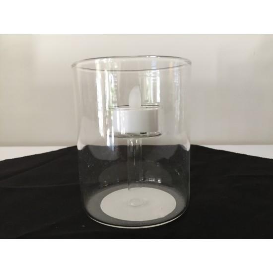 Bougeoir cylindrique avec porte bougie intégré