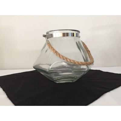 Bougeoir ou vase cylindrique à poignée en cordage 7 po