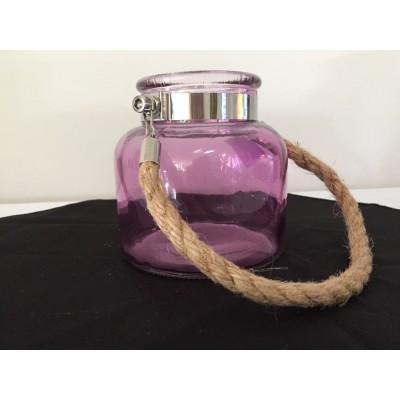 Bougeoir ou vase cylindrique à poignée en cordage 5 po