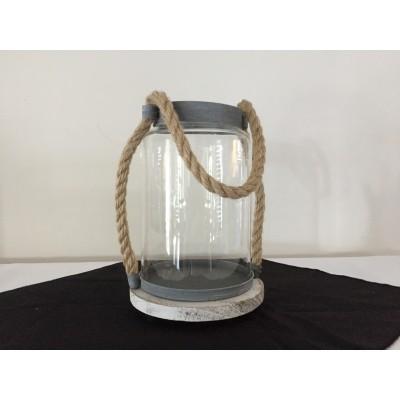 Bougeoir ou vase cylindrique à poignée en cordage 9 po