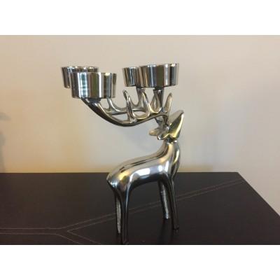 Bougeoir chevreuil en métal argent 4 bougies