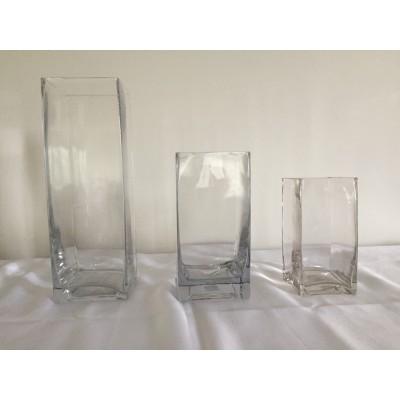 Vase carré transparent 6 po