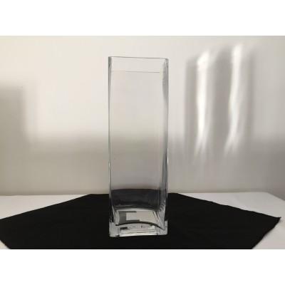 Vase carré transparent 12 po