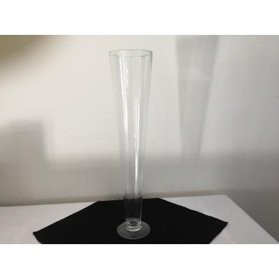 Vase trompette en verre transparent 20 po