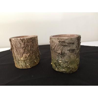 Bougeoir recouvert écorce bois